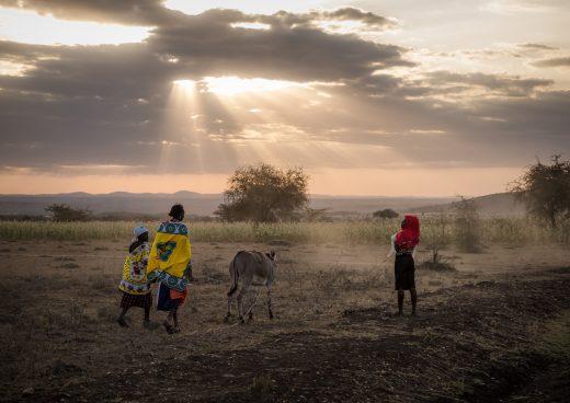 Mamas walking with donkey in Kenya